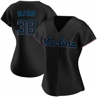 Women's Authentic Miami Marlins Jorge Alfaro Alternate Jersey - Black