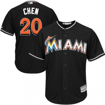 Authentic Miami Marlins Wei-Yin Chen Majestic Cool Base Alternate Jersey - Black