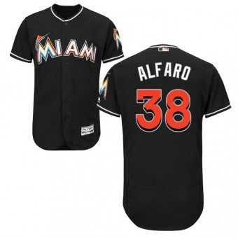 Youth Authentic Miami Marlins Jorge Alfaro Majestic Flex Base Alternate Collection Jersey - Black